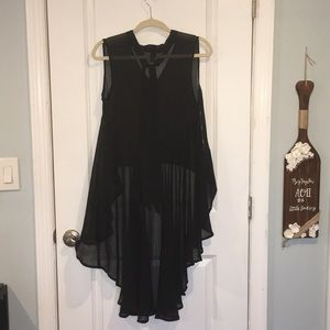 Forever 21 Tops - Dramatic long back sheer black top